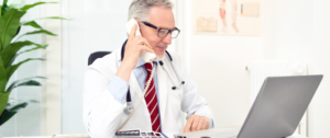 Doctor choosing a medical answering service